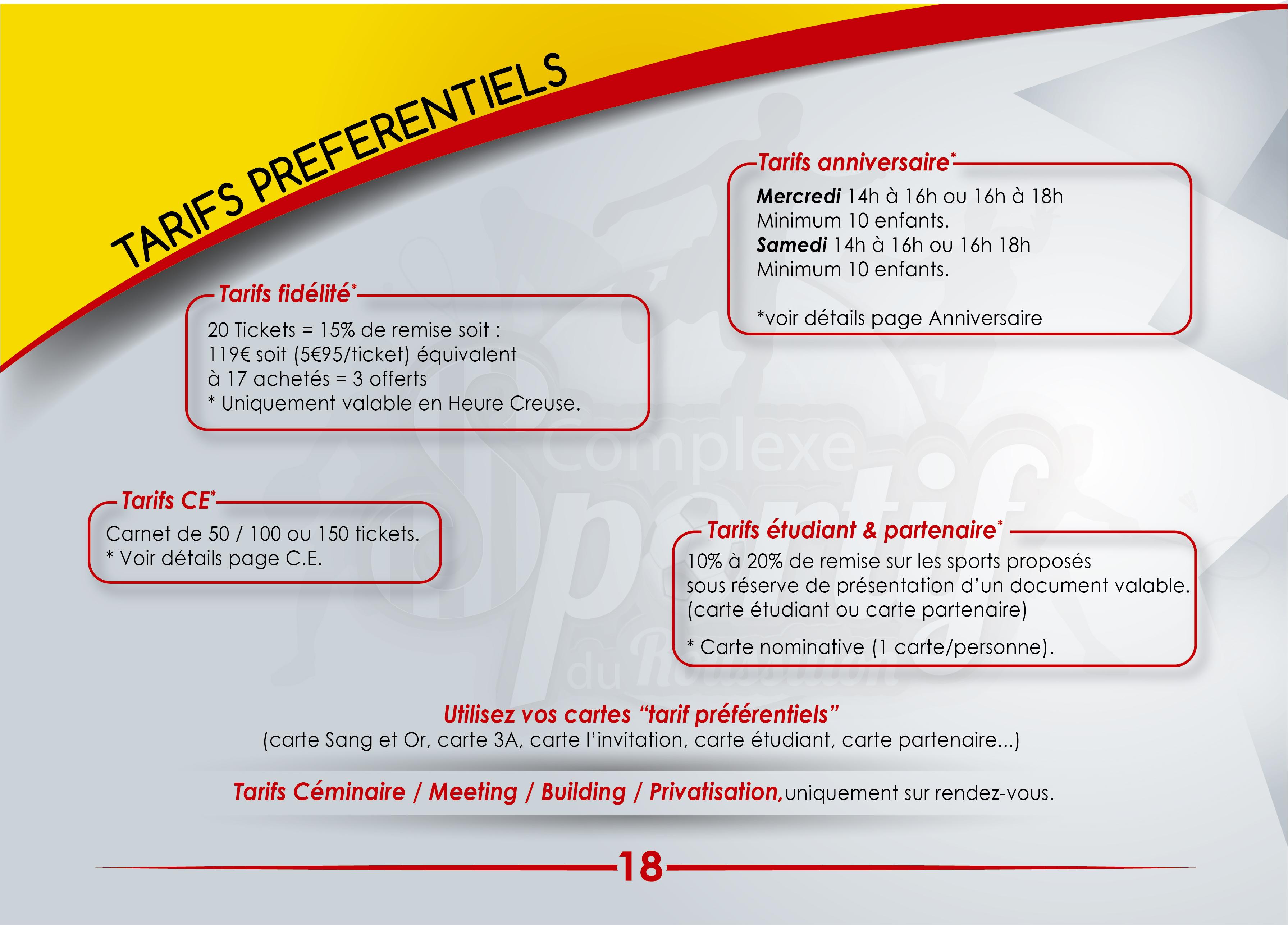 Nouveaux tarifs et horaires du Complexe Sportif du Roussillon