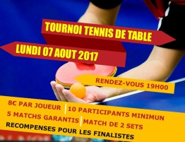 Tournoi Tennis de table du 07-08-2017