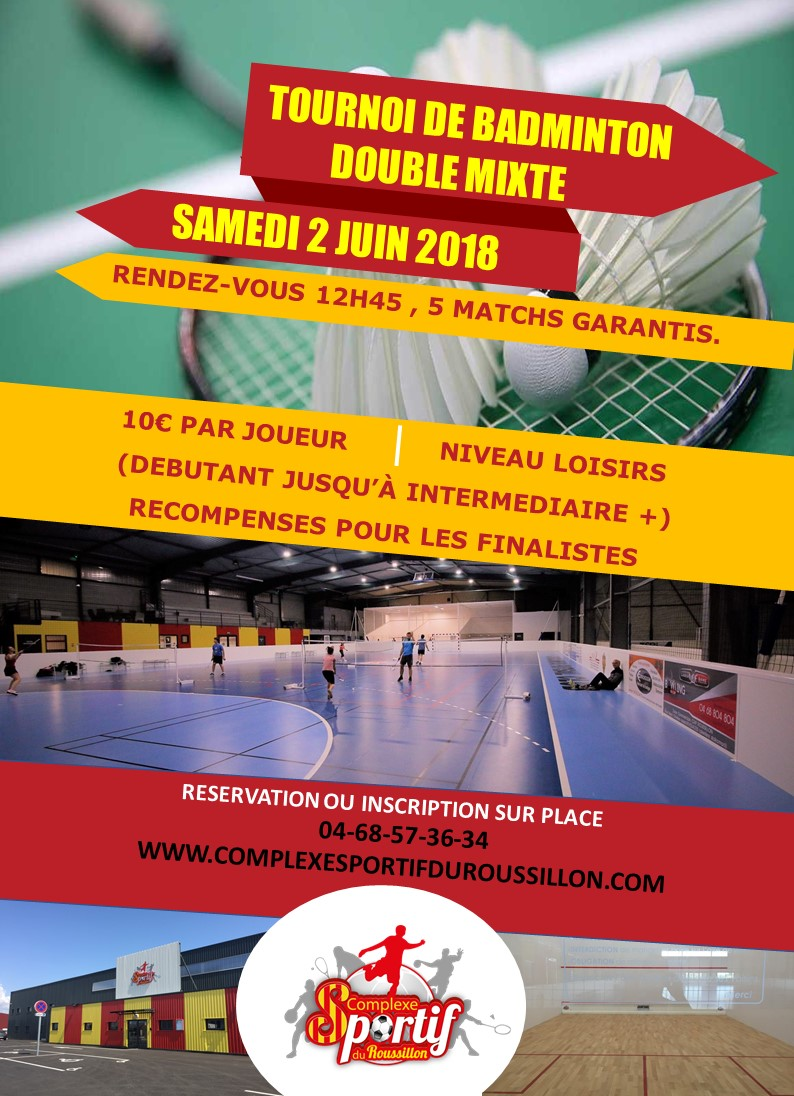 Tournoi de badminton double mixte dans le 66